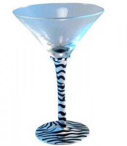 Zebra Hand Painted Frosted Martini Glass