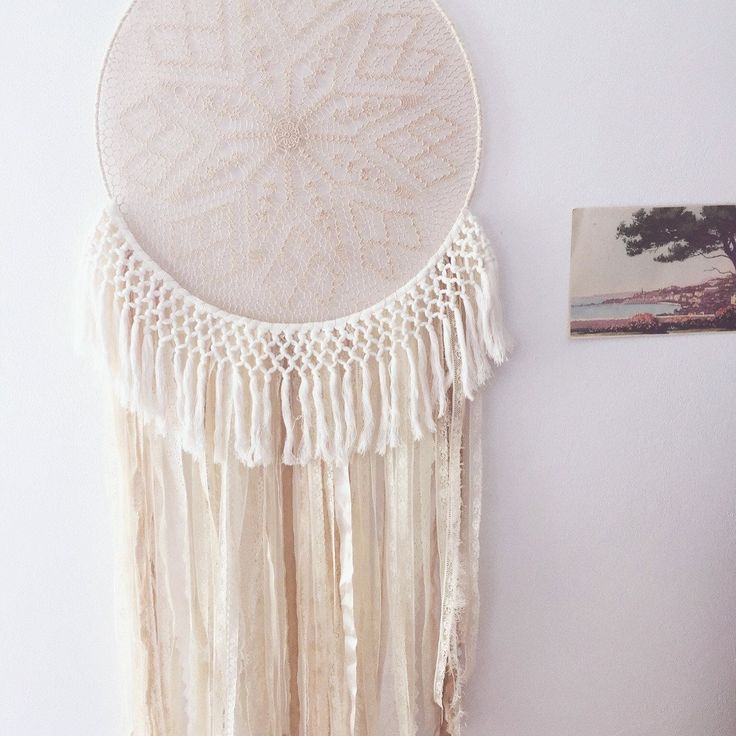 Large dream catcher with macrame style cotton fringe by ivie and letty