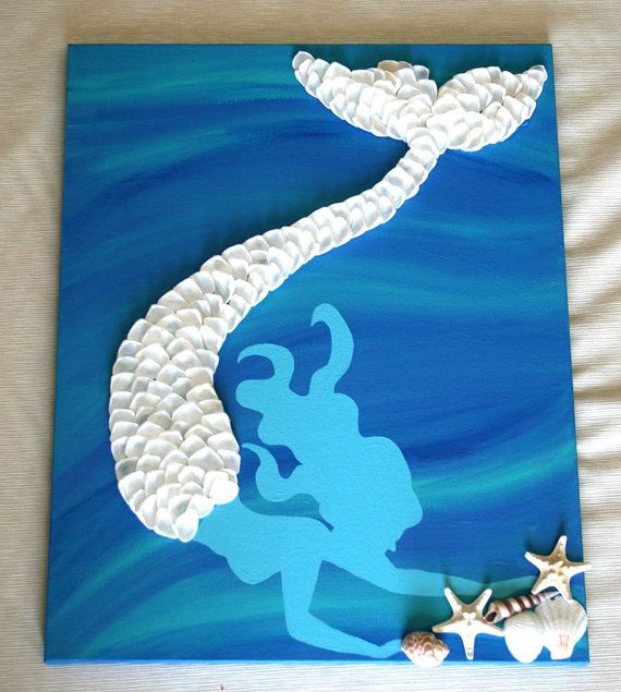 This listing is for 16x20 canvas with a hand painted aqua mermaid with white shell detail and blue/aqua background. This piece can be custom