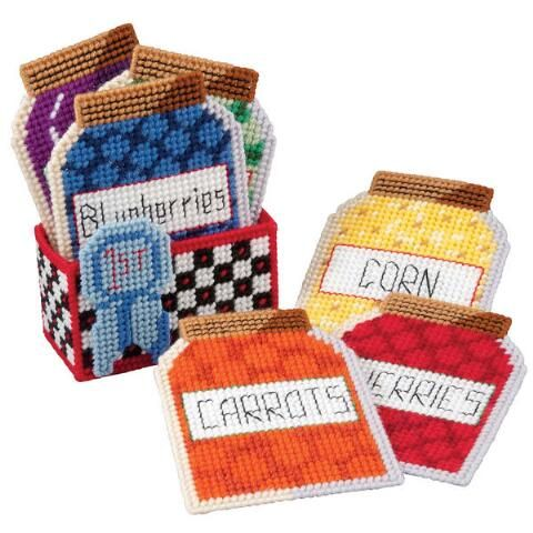 State Fair Canning Coasters With Holder Plastic Canvas Kit - Herrschners