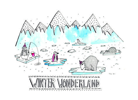 A print by Tina Mose that will suit anywhereThe Winter Wonderland artwork is a limited edtion only 100 ever made, This illustrations would fit any kids room, made with watercolour and fineliner.
