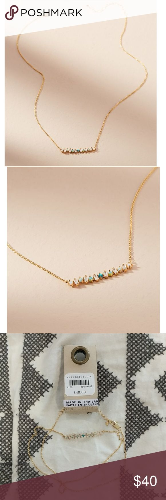 """😍NEW ANTHRO Green crystal necklace! """"Margaret Necklace""""- beautiful crystal necklace with various green, opal, and clear shades. So pretty and dainty! NEW (and selling online for more) Anthropologie Jewelry Necklaces"""