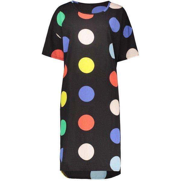 Black ONE SIZE Polka Dot Chiffon Plus Size Dress (715 DOP) ❤ liked on Polyvore featuring dresses, dot dress, spotted dress, women plus size dresses, womens plus dresses and polka dot chiffon dress