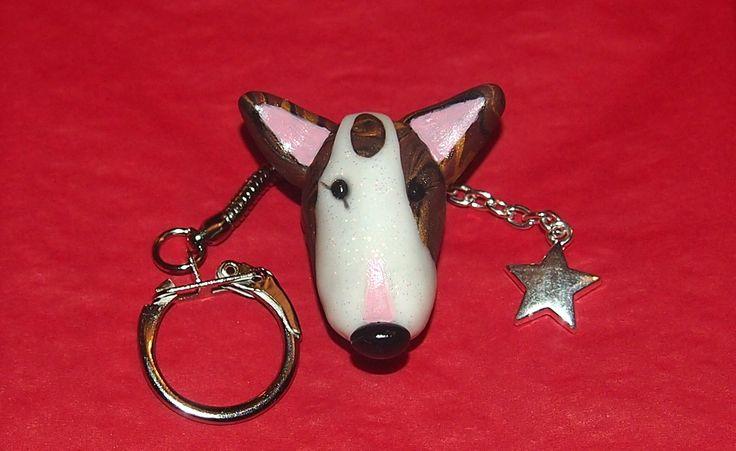 A customised Bull Terrier key chain based on my friend's beautiful Bullie :-)