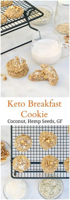 Nutritious portable Keto Breakfast Cookies are made with hemp hearts, shredded coconut flakes, and coconut flour for a grain-free start to your day!