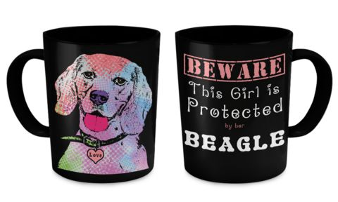 "Black Beagle Coffee Mug  "" This Girl is Protected by her Beagle"" ...   Print on both sides of mug...   11oz mug Dishwasher and microwave safe Black mugs are a slightly softer black than it appears in the preview where the design is printed.  The highest quality printing possible is used. It will never fade no matter how many times you wash it.  Printed and shipped from the USA"