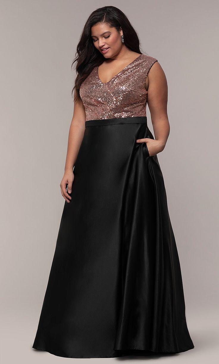 Long Plus Size Sequin Bodice Formal Satin Dress   Plus size ...