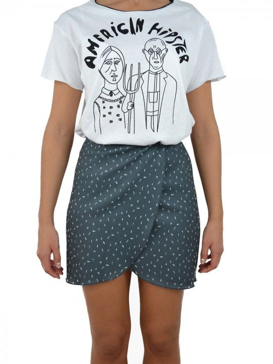 Mini falda micro estampado aliens gris. By Le dot American Gothic