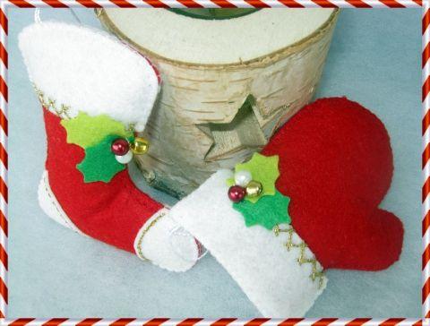 Karácsonyi csizma - kesztyű szett II., Otthon, lakberendezés, Dekoráció, Karácsonyi, adventi apróságok, Karácsonyi dekoráció, Meska