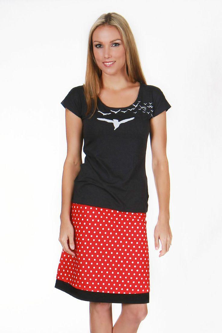 Our Dotty Bike Reversible Skirt in the shorter version.