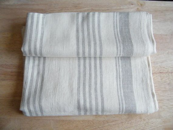 2 Elegant Natural Linen Bath Towels, Pure Flax Linen - Large Bath Sheets, Offwhite and Gray Ecru.