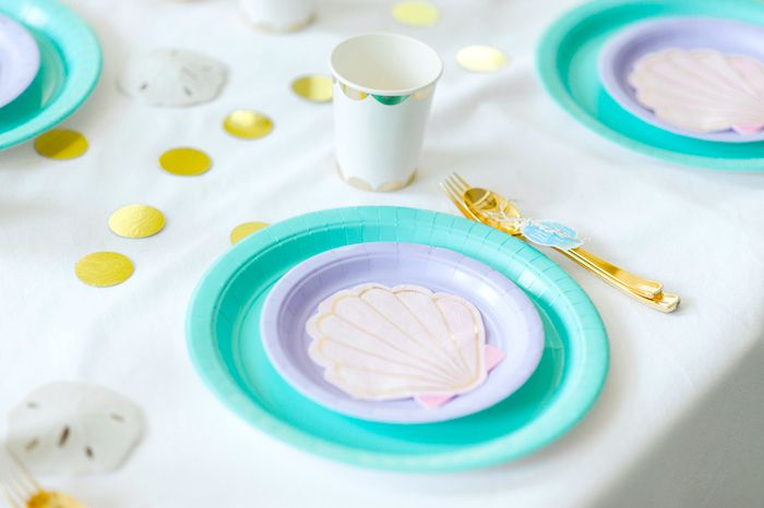 Place setting from a Pastel Mermaid Birthday Party on Kara's Party Ideas | KarasPartyIdeas.com (20)