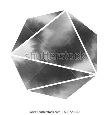 Watercolor abstract polygon