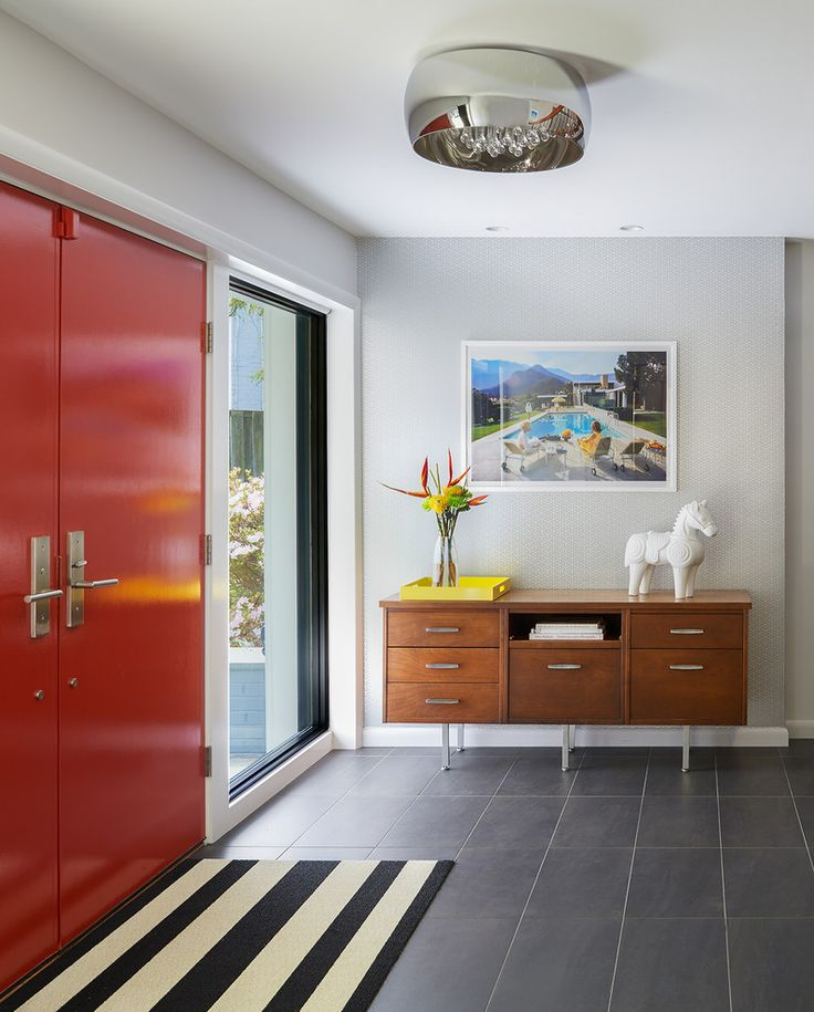 Cottage style entry doors entry midcentury with stripe mat mid century modern furniture