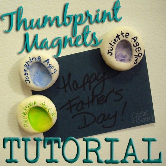 Cute thumbprint magnets tutorial! These would be a great Mother's Day or Father's Day gift.. or even a Christmas gift for grandparents!