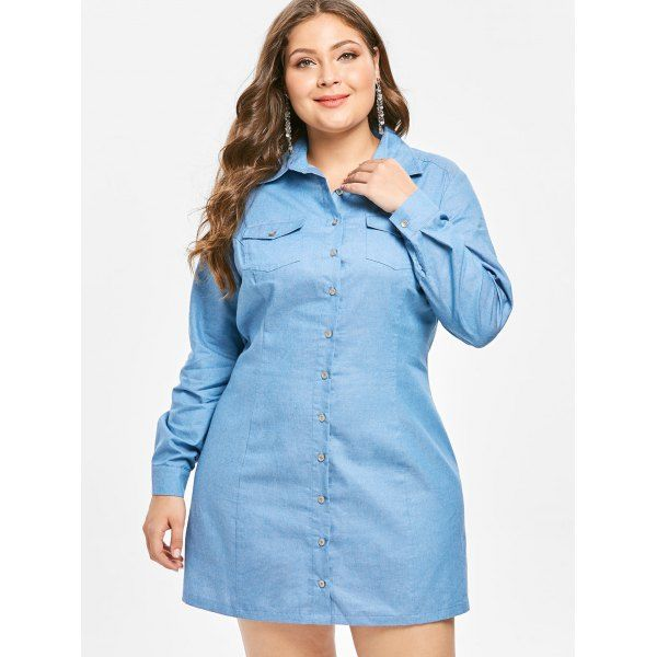 Wholesale Plus Size Long Sleeves Denim Shirt Dress L Blue ...
