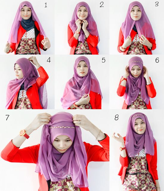 Hijab How-To! This one with added braid headband. -- hijabholicanism.blogspot.com