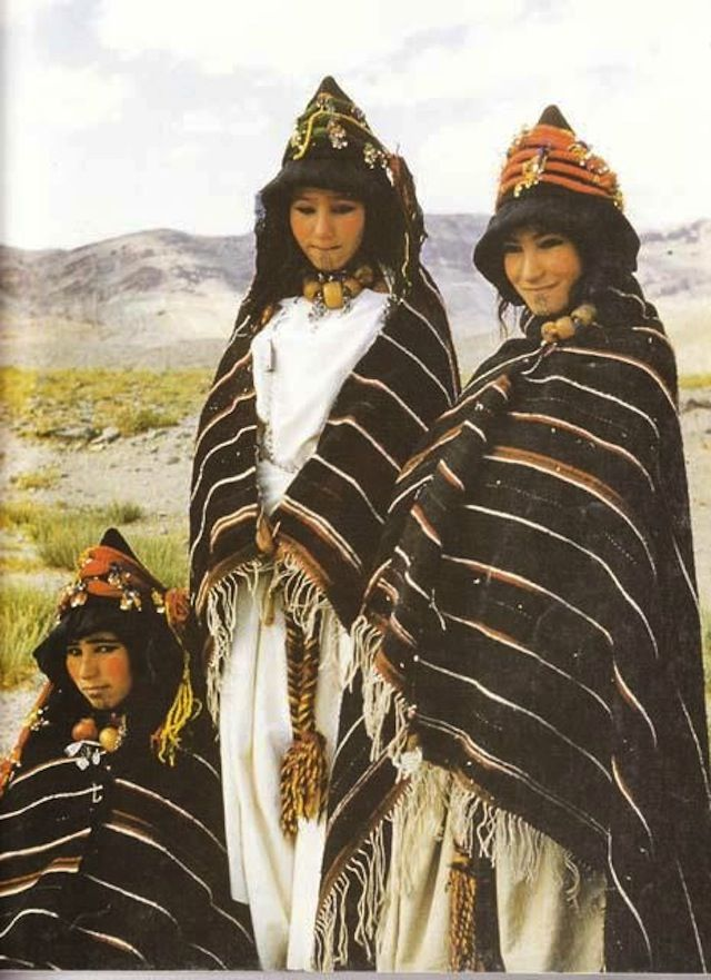Berber girls of Imilchil village, of the Ait Haddidou tribe, during a wedding in 1980