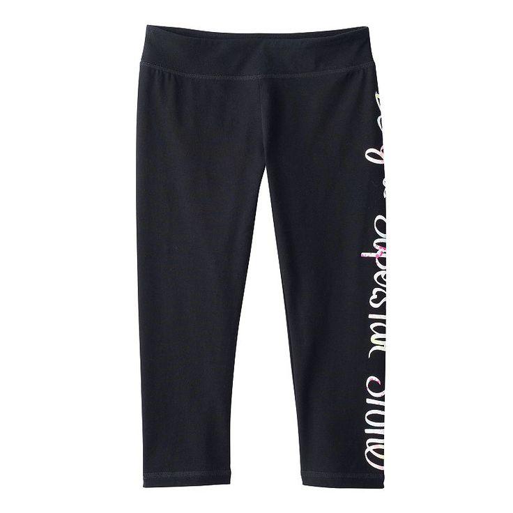 Girls 7-16 & Plus Size SO® Leg Graphic Capri Yoga Pants, Girl's, Size: 16 1/2, Black