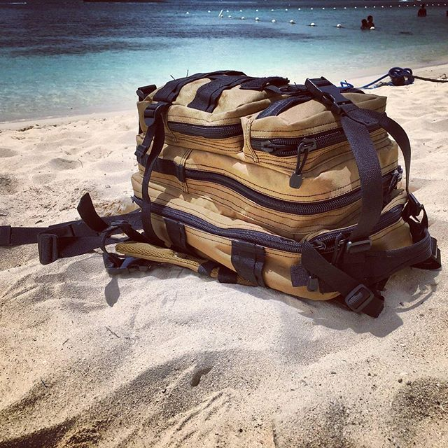#Assault #Pack on a #solo #mission Taking a break from #hiking the #mountains and #falls to relax on #Ochi #Rios #beach #Jamaica #White #Sand #Blue #Sea #Sky #swimming #MannishClothiers