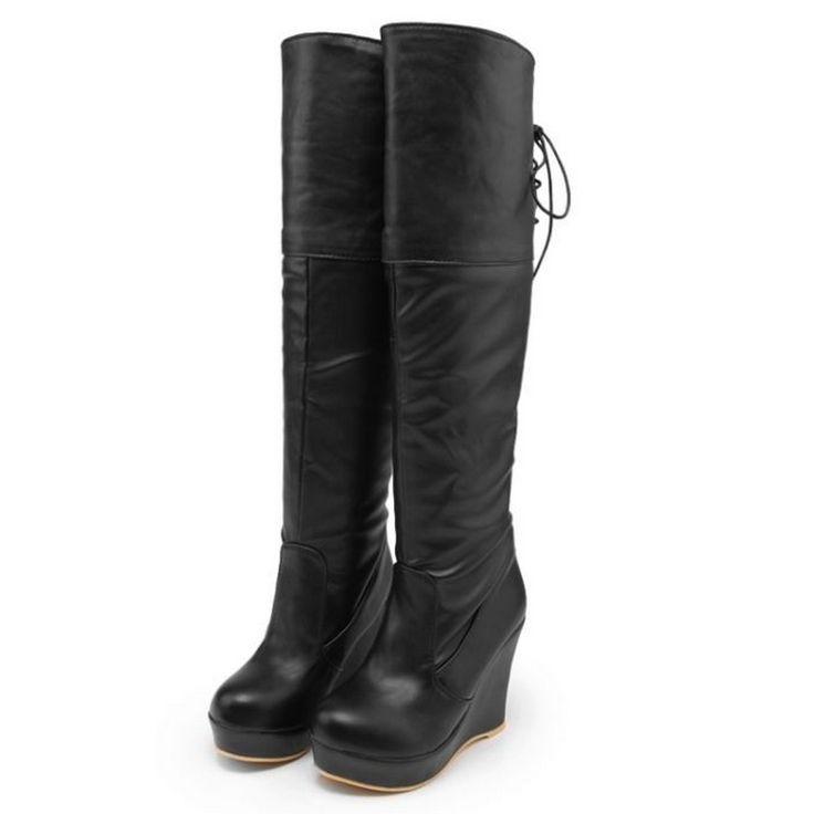 Женщины кожаные сапоги теплые женские случайные сапоги мода толстая корка клинья сапоги зашнуровать бедро высокие сапоги большого размера ЕС 43 # C153