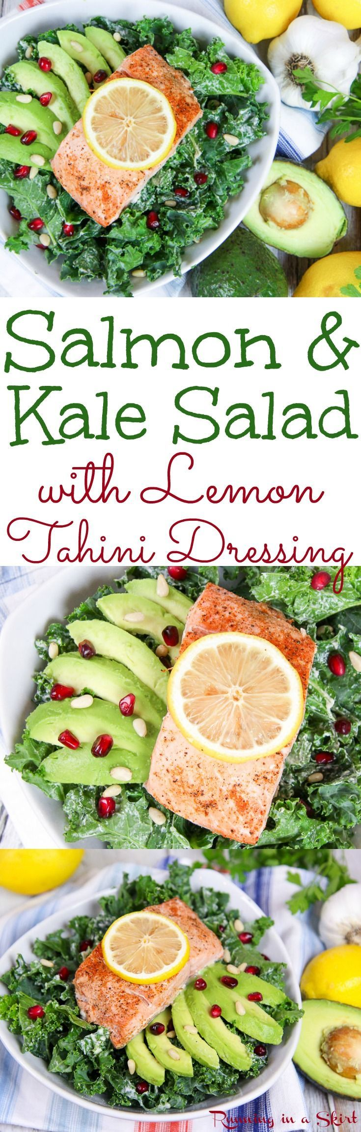 Healthy Salmon Kale Salad recipe with Lemon Tahini Dressing. Perfect for healthy, clean eating meals and dinners. Topped with avocado, pine nuts and pomegranate. Low carb, gluten free, pescatarian food / Running in a Skirt