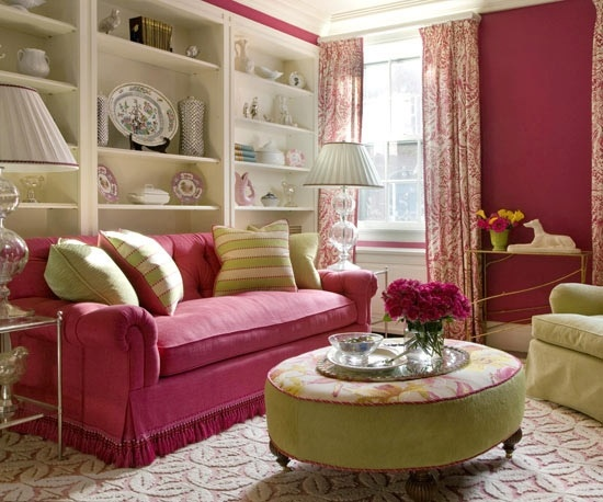Amazing Pink Sofa White Shelves Living Room Eclectic Decor Home Ideas Listed In Decorating For A Shabby Chic Furniture