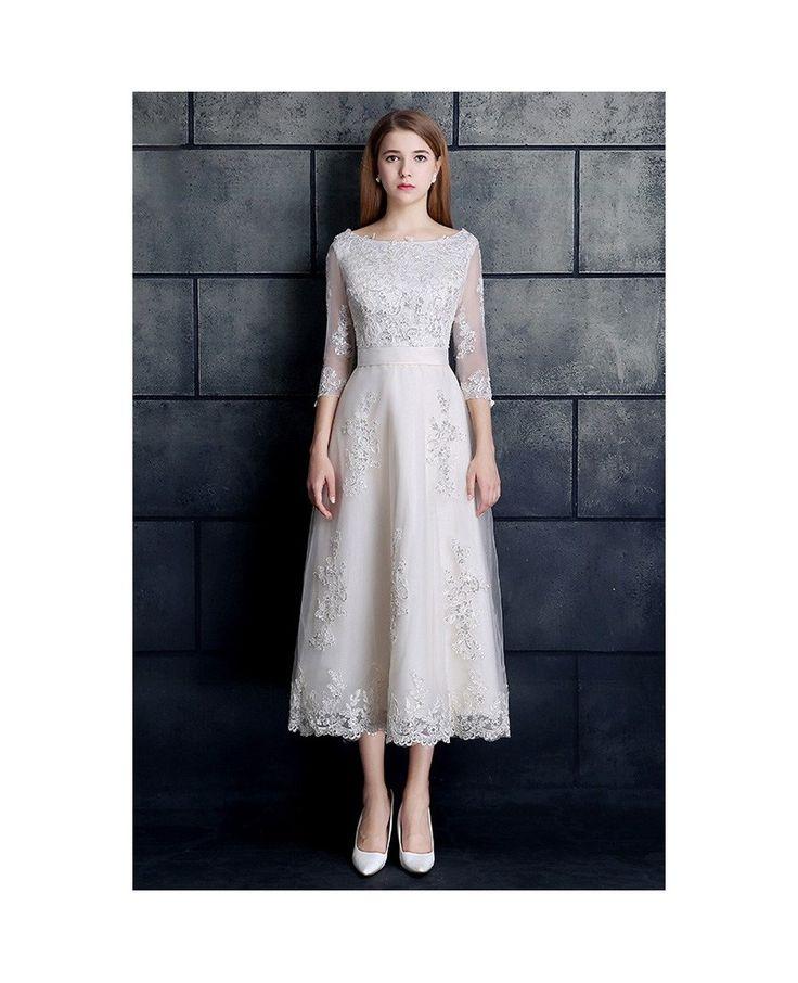 Vintage Tea Length Wedding Dress 3/4 Sleeve Lace Tulle A