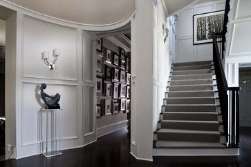 Love this look for the back stairs.    The gray carpet is lovely.