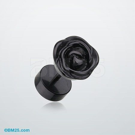 A Pair of Rose Blossom Acrylic Fake Plug Earring