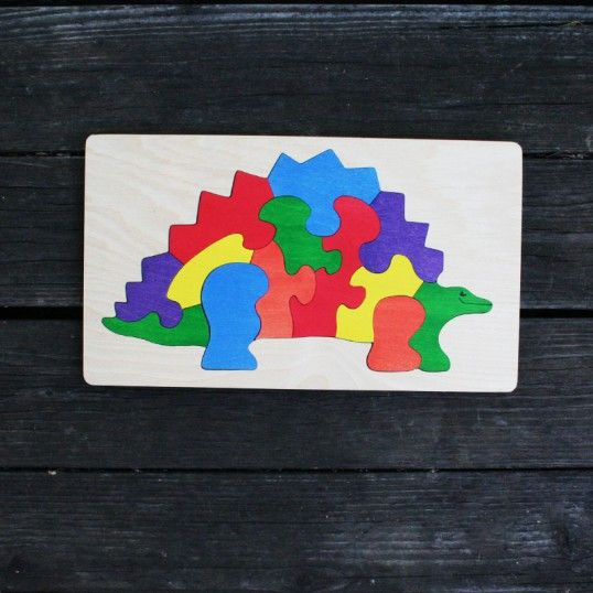 Stegosaurus Wooden Puzzle - colorful 13 piece puzzle, great for 4-6 year olds