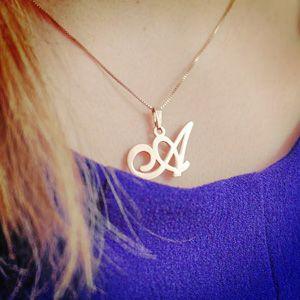 The A initial necklace as worn by Anna - gorgeous! #annalouoflondon www.annalouoflondon.com