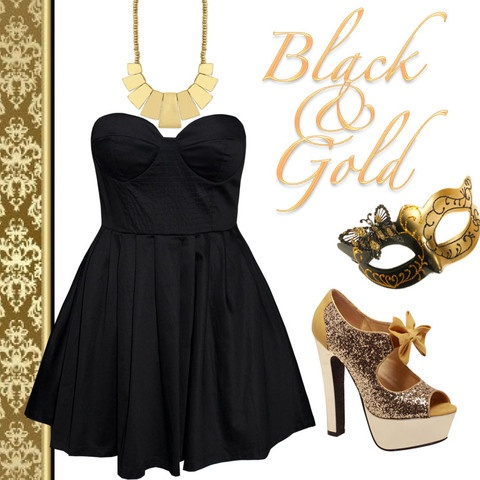Style Guide: Black Dress, Gold Glitter Shoes, Gold Statement Necklace