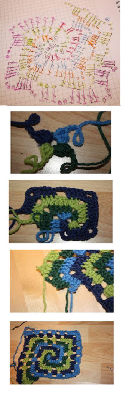 Crochet Granny Spiral / Chart *༺✿ƬⱤღ http://www.pinterest.com/teretegui/✿༻*