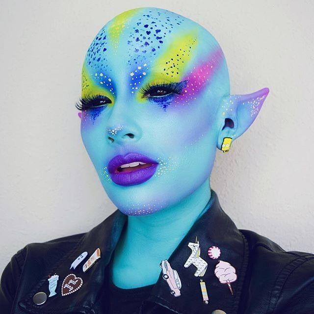 WEBSTA @ sugarpill - /ahitsrosa/ is the cuuuutest punk alien babe in #Sugarpill shadows Velocity, Buttercupcake and Dollipop
