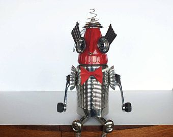 Rocket Man Found object Robot - Space Age - Mid Century - Steampunk sculpture - Repurposed Assemblage - Recyle Art