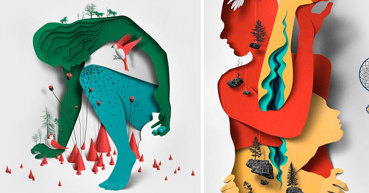 Estonian illustrator Eiko Ojala (previously) brings a fantastic sense of depth and texture into his editorial illustrations by using carefully arranged layers of cut paper and shadows. The works are all assembled digitally, but the artist often incorporates his own photos to achieve the desired