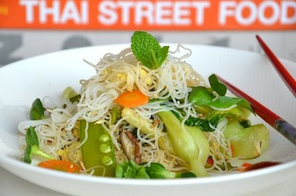 Quick and tasty one dish dinner, rice noodles in a tangle with eggs,vegetables, soy and ginger.