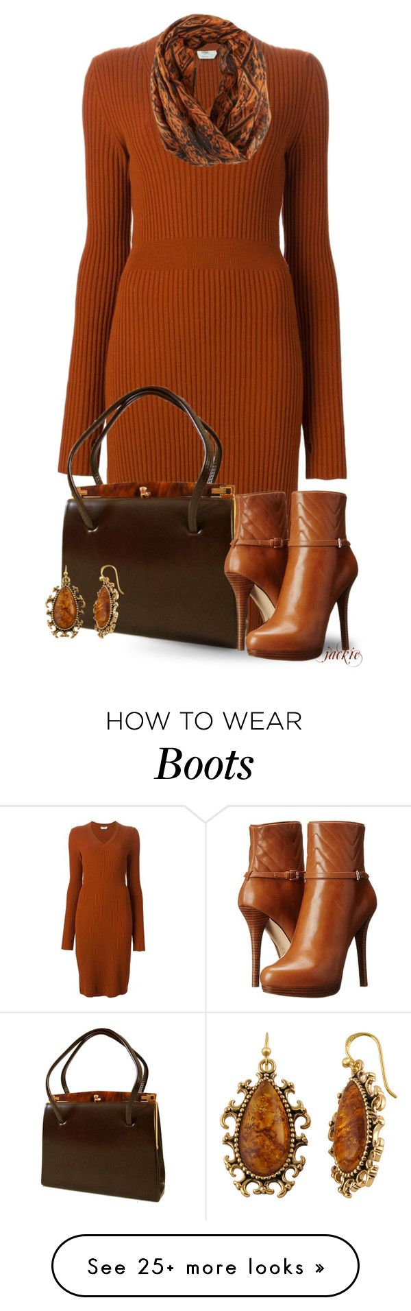 """""""Sweater Dress and Boots"""" by jackie22 on Polyvore featuring moda, Fendi, MICHAEL Michael Kors, Bay Studio, michaelkors, ankleboots i sweaterdress"""