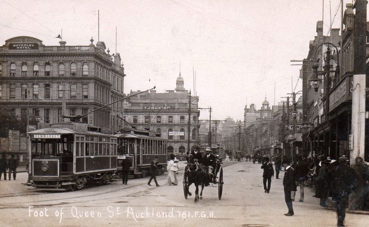 Foot of Queen Street, Auckland in about 1905. Postcard by Industria Series ~ 781 F.G.R.