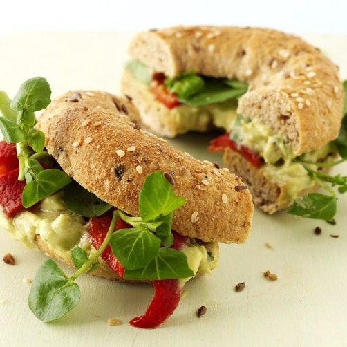 quick and easy bagel idea with avocado and red peppers