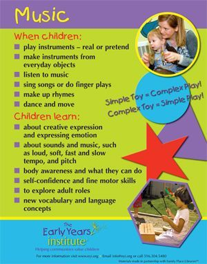 The Early Years Institute shares what children learn from music and musical toys! -Repinned by Totetude.com