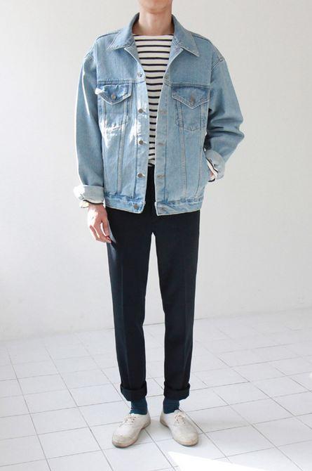 Oversized denim jacket and stripes.