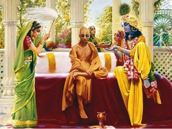 Lord Krishna, Devi Rukmini and Sudama.