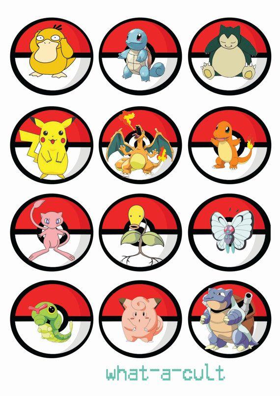 pokemon 24 pastel topper/Magdalena/muffin juego de por WHATaCULT