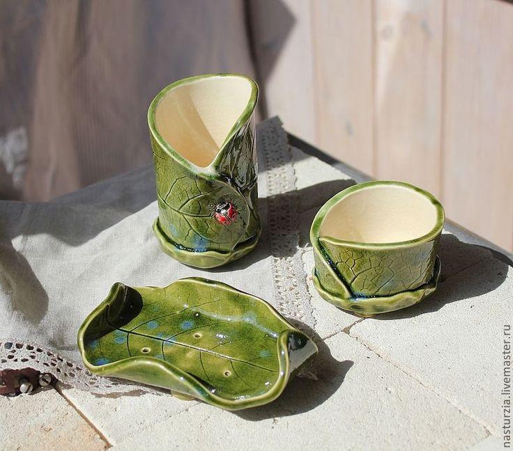 Купить Наборы для ванной Листья - Керамика, керамический, набор для ванной, мыльница, стакан для зубных щеток