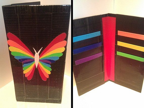 Rainbow Butterfly Duct Tape Clutch by RaindropWallets on Etsy, $18.00