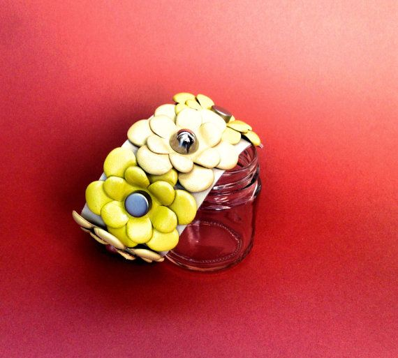 Leather cuff with yellow flowers. 30% off by RetroBottegaShop
