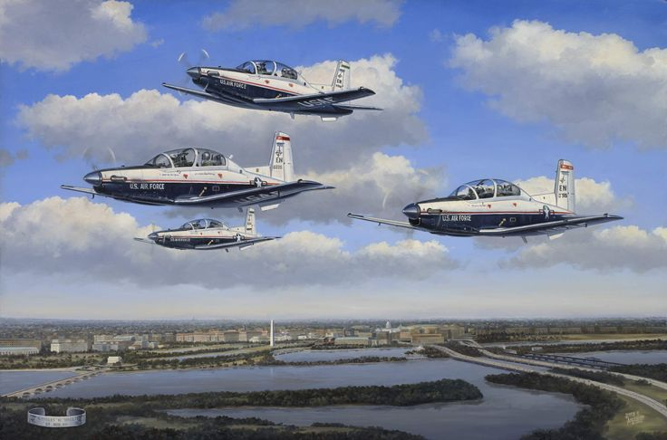 """""""Final Salute to a Warrior"""" depicts four U.S. Air Force T-6A Texan II training aircraft performing a """"missing man"""" formation to honor the burial ceremony of a POW/MIA from the Vietnam War at Arlington National Cemetary.  Visit us at JerryAndersonArt.com to read the full story behind the painting."""