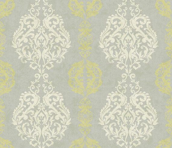 Damask Stripe Wallpaper Pale Gray Kiwi Green Silver (med